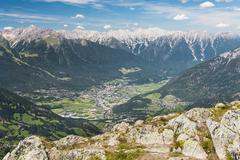 View from the Sechszeiger to Imst and the Inn Valley in Austria - stock photo