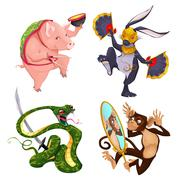 Pig, rabbit, snake and monkey. - stock illustration