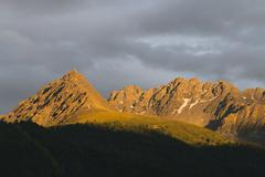 Colorful Alpenglow in the mountains near Nauders, Austria Stock Photos