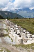 The anti tank barrier in the Plamort moor on the Italian side of the border t - stock photo