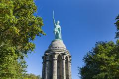 Front view of the famous Hermannsdenkmal  in the Teutoburger Wald near Detmol Stock Photos