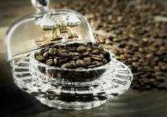 coffee beans in bulk - stock photo