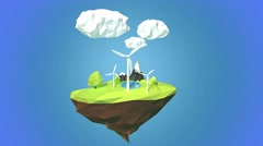 Wind turbines on floating island, low poly style. - stock footage