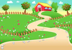 Stock Illustration of Funny landscape with farm.