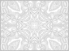Unique coloring book page for adults - flower paisley design Stock Illustration