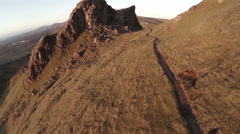 Aerial shot of the Quairang in Skye (Scotland) Stock Footage