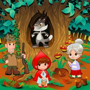 Little Red Hiding Hood scene. Stock Illustration