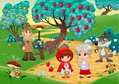 Little Red Hiding Hood scene. - stock illustration