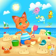 Young cat makes castles on the beach. - stock illustration