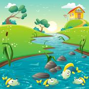 Stock Illustration of Landscape with river and funny fish.