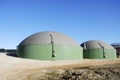 Stock Photo of Renewable energy with biogas production facility