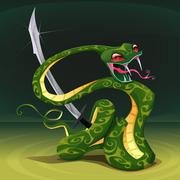 Poisonous snake with saber. Stock Illustration