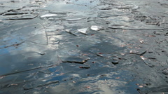 Stock Video Footage of Ice and water in a pond in December