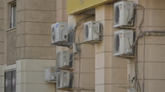 Air conditioning units on a building in Bucharest Stock Footage