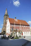 Half-timbered houses and church in Wolframs-Eschenbach Stock Photos