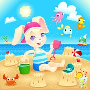 Young rabbit makes castles on the beach. - stock illustration