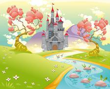 Stock Illustration of Mythological landscape with medieval castle.