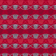 Pattern of many eyes on red background - stock illustration