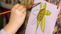 Close-up child painting with watercolor Stock Footage