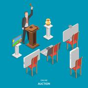 Online auction isometric flat vector concept. Stock Illustration