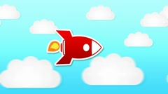 Rocket Animation - Day Time - Clouds 01 Stock Footage