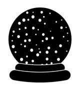 Christmas snowglobe cartoon design, icon, symbol for card. Winter transparent - stock illustration