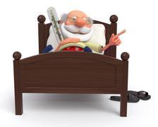 3d pensioner is ill - stock illustration