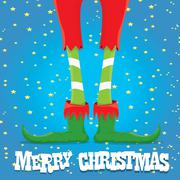 Christmas cartoon elfs legs Stock Illustration