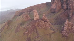 Aerial shot of the beautiful landscape around the Old man of Storr Stock Footage