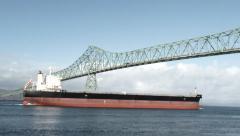 Under The Bridge Large Ship - stock footage