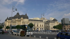 Tourists buses and cars in Revolution Square in Bucharest Stock Footage