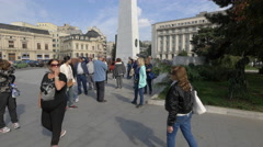Tourists visiting the Monument of Rebirth in Bucharest Stock Footage