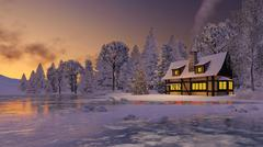 Illuminated rustic house and christmas tree at sunset - stock illustration