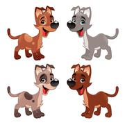 Set of funny dogs. - stock illustration