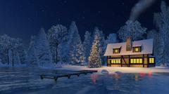 Illuminated christmas tree and rustic house at night - stock illustration
