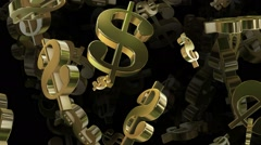 Flying USA Dollar signs Stock Footage