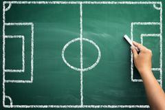 soccer terrain on chalkboard - stock photo