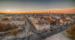 Beautiful sunset in Old Town of Vilnius, Lithuania - stock photo
