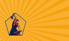 Business card Blacksmith Worker Striking Sledgehammer Anvil Retro - stock illustration