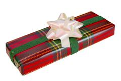 Wrapped Gift With Tartan Paper Stock Photos