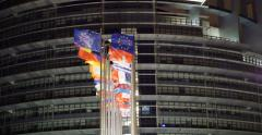 Eu Building with all European Countries flags waving Stock Footage