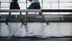 Two young professional boxers are fighting on the boxing ring. Defocused - stock footage