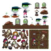 Set of game elements with zombie character, platforms and objects. - stock illustration