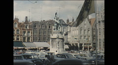 Vintage 16mm film, 1960, Belgium, Brugges town square Stock Footage