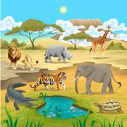 African animals in the nature. - stock illustration