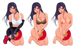 Beautiful woman in three versions, dressed and naked. - stock illustration
