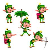 Stock Illustration of Funny dwarf in different poses.