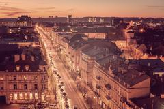 Old Town in Vilnius, Lithuania: Gediminas avenue, main representative street - stock photo