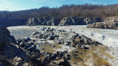 Pan of Great Falls from Maryland side Stock Footage