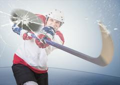 Stock Photo of Ice hockey puck hit the opponent visor